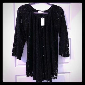 NWT Anthropologie Deletta Black Lace Top